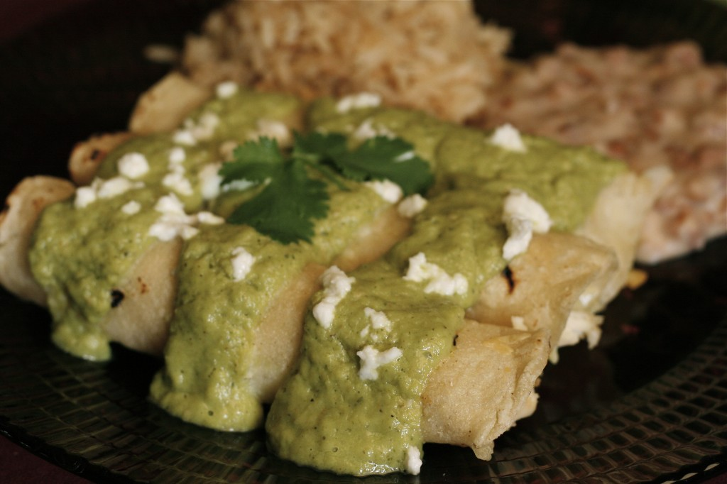 Chicken Enchiladas in Avocado Cilantro Sauce -