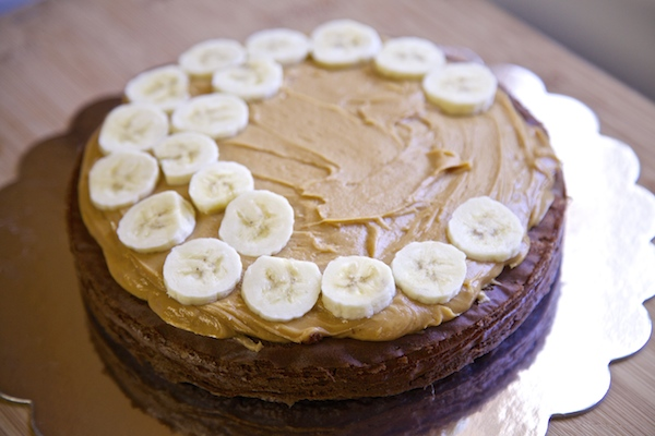 Banana slices fill the middle of the cake.