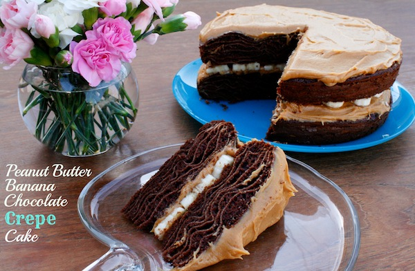 Honey Peanut Butter Banana Chocolate Crepe Cake -