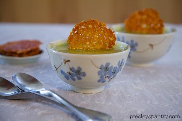 Parmesan crisps in a creamy zucchini soup #mamafrancesca