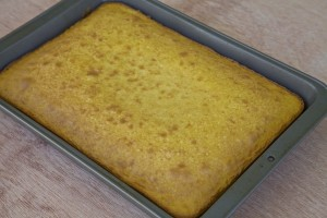 baked lemon cake still in pan