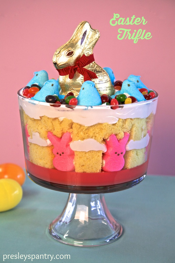 Trifle made for easter with lemon cake and peeps