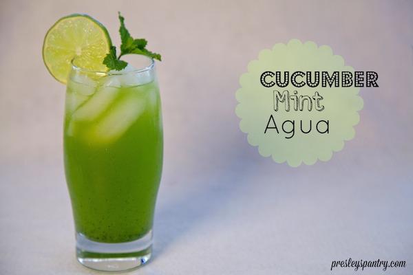 agua de pepino y yerba buena or cucumber mint water