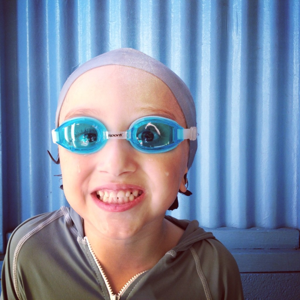 Max wearing his goggles for swimming lessons