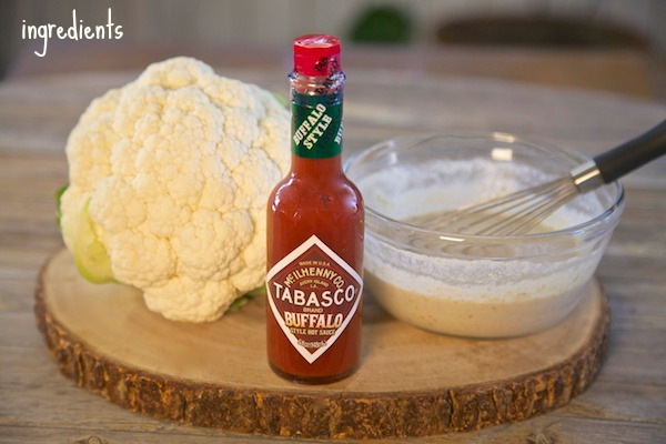ingredients for buffalo cauliflower using buffalo tabasco