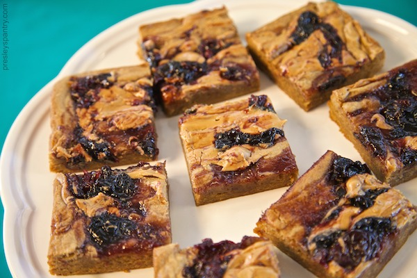 kickin cherry peanut butter blondies