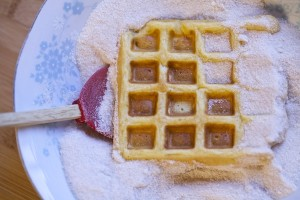 dust waffles off with cinnamon and sugar