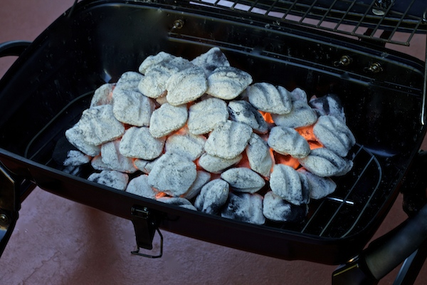 hot charcoals ready for grilling
