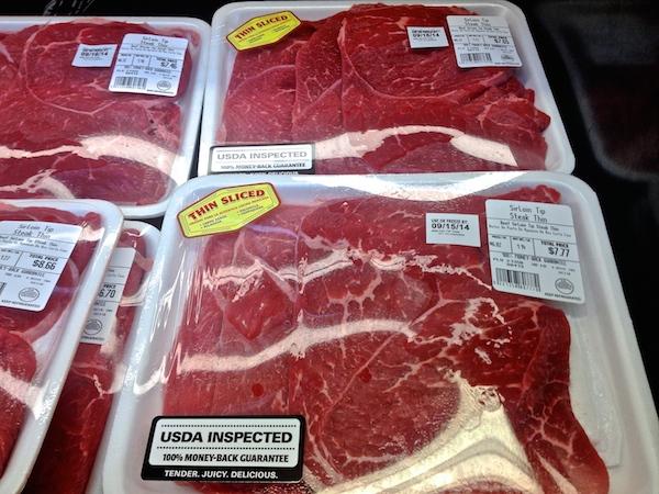 thinly sliced steak