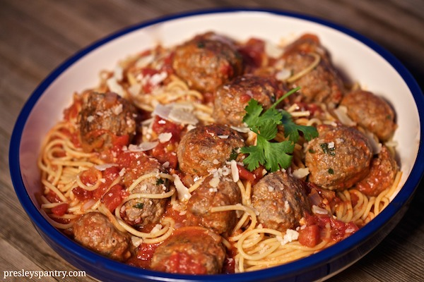 Chipotle albondigas and thick Barilla spaghetti