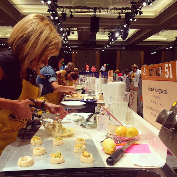 A Pillsbury contestant baking toward the prize. bake-off