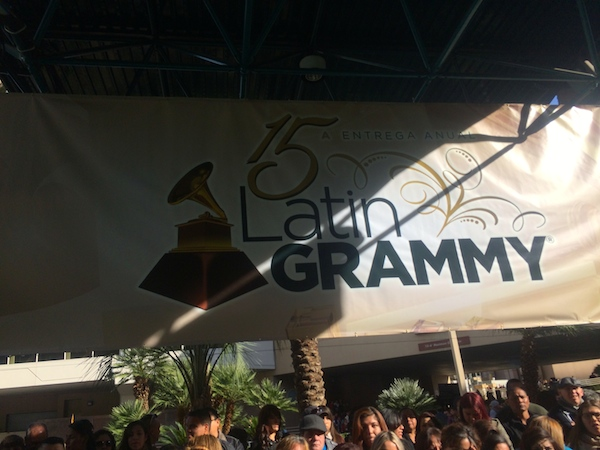 The Latin Grammy banner welcoming guests onto the green carpet