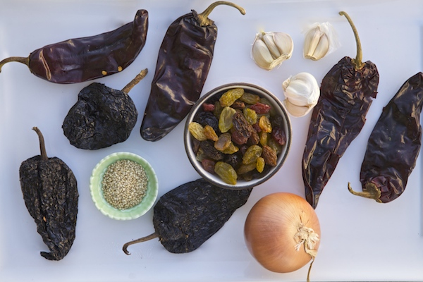 ingredients for raisin red chile enchilada sauce