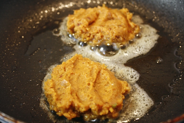 Sweet potato chorizo pancakes frying