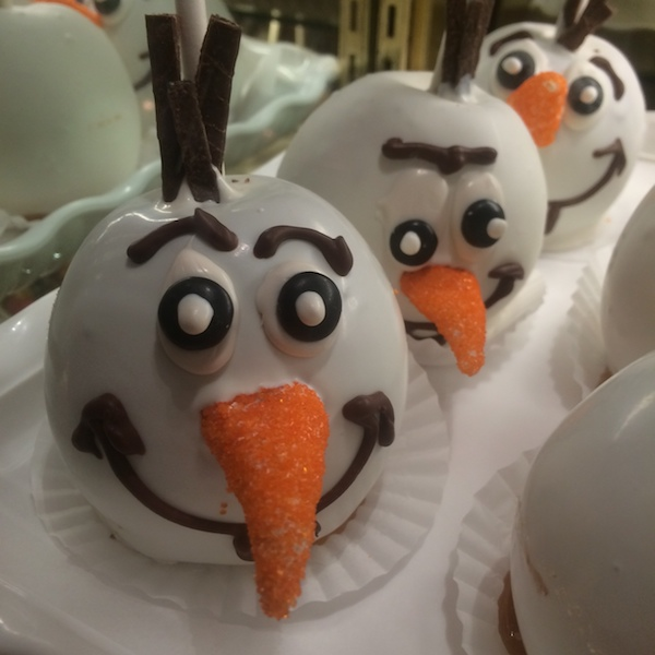 An Olaf candied apple at Disneyland
