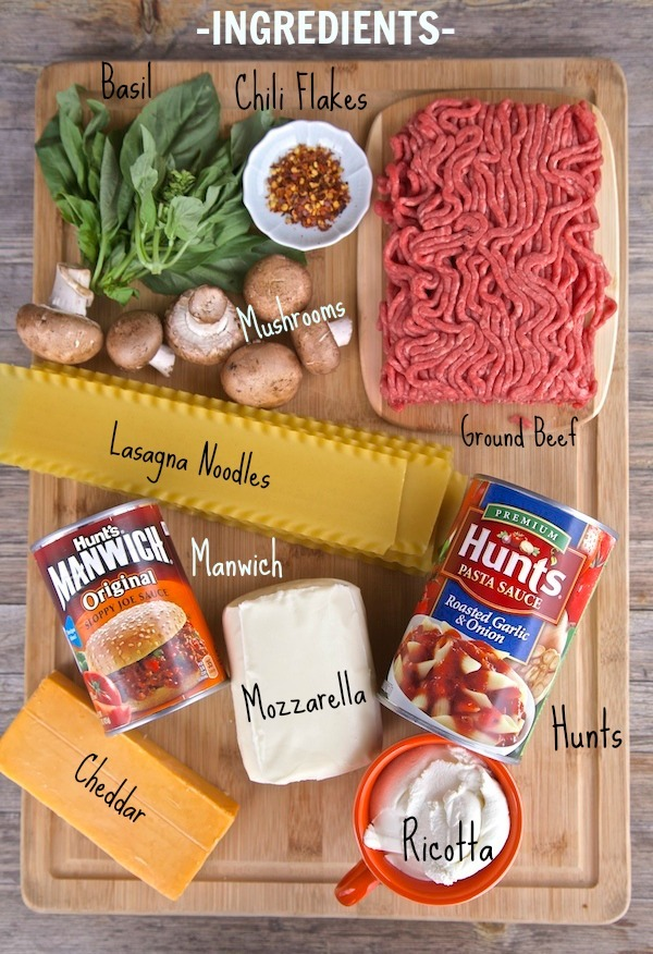 ingredients for manwich lasagna rolls. Very easy to make. The pasta sauce is made for you with Hunts pasta sauce, and manwich add the perfect spice to ground beef making these lasagna rolls unforgettable.