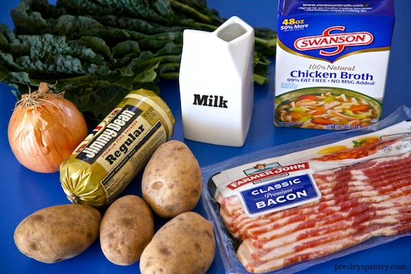 The ingredients needed for potato sausage soup. The milk adds a velvety texture to the soup and a tasty broth.