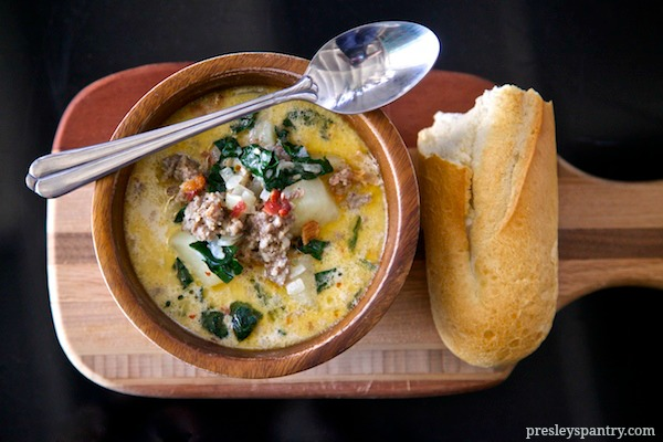 enjoy this lovely creamy potato sausage soup with bread when you want a bowl of happiness