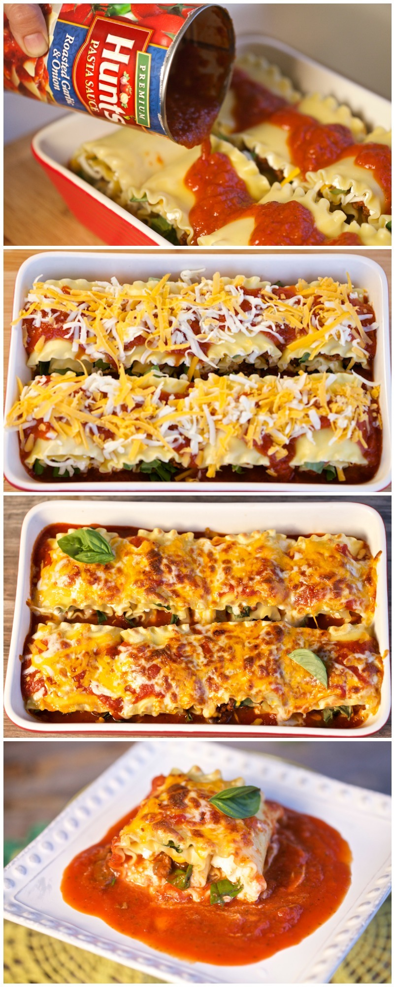 Place all manwich lasagna rolls in baking dish. Make sure all lasagna rolls are snug, and pour Hunt's pasta sauce over the top. Top with cheese and bake at 375 Fahrenheit for 30 minutes.