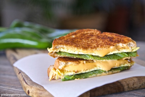 chile relleno grilled cheese sandwich cut in half. #shareyourcheesy