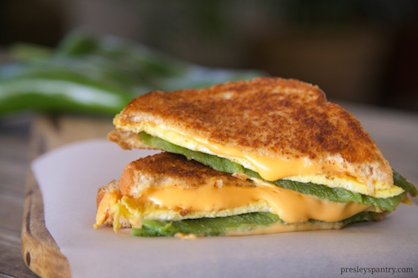 Chile relleno grilled cheese sandwich. All ingredients can be bought at Walmart