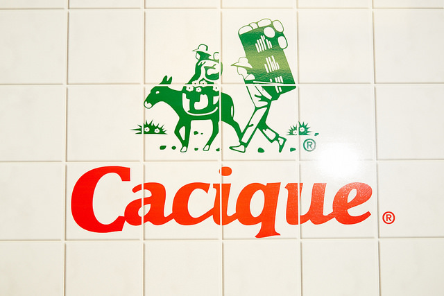 The tile wall in the Cacique kitchen.