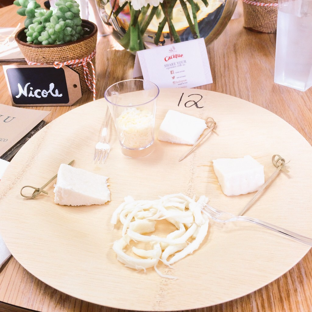 cheese plate of the different varieties of Cacique cheeses.