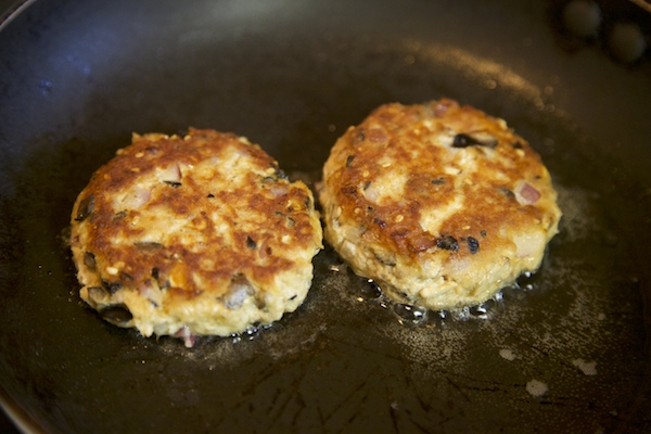 Tuna cakes fried until golden brown on each side.