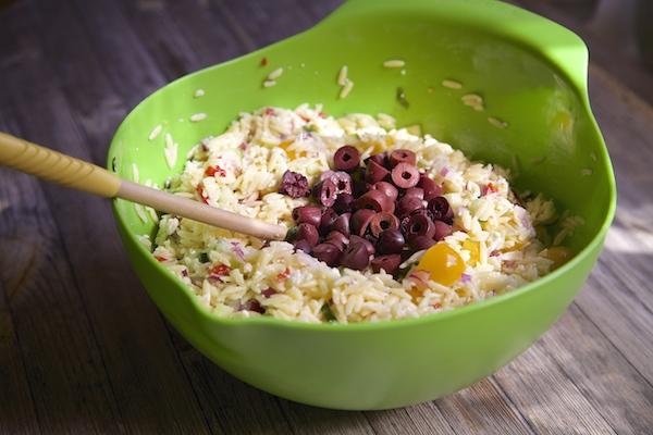 kalamata olives and orzo salad.