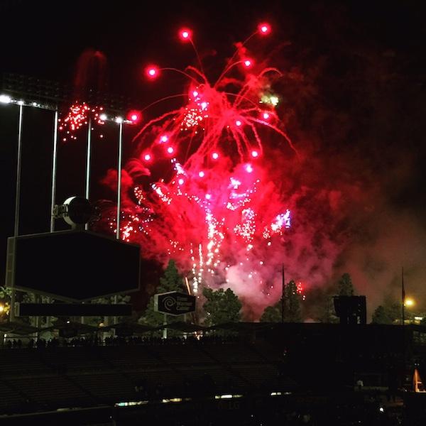 Firework night at dodger stadium