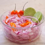 Habanero lime spiced onions are easy to make. I use a thinly sliced red onion and place it in a bowl with lime juice and sliced habanero.