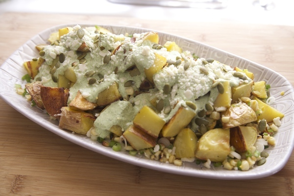spicy potato salad made with yukon gold Idaho potatoes