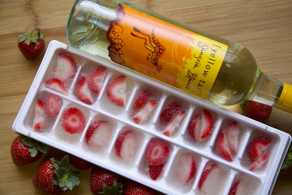 Make ice cubes out of yellow tail Sangria Blanco and sliced strawberries. Then never worry about watering down your drink while making it ice cold.
