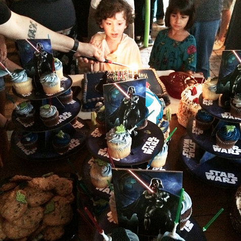 Max at his Star Wars party all cake and supplies were bought at Walmart. Photo taken by Curves and Chaos.  #WMTMoms
