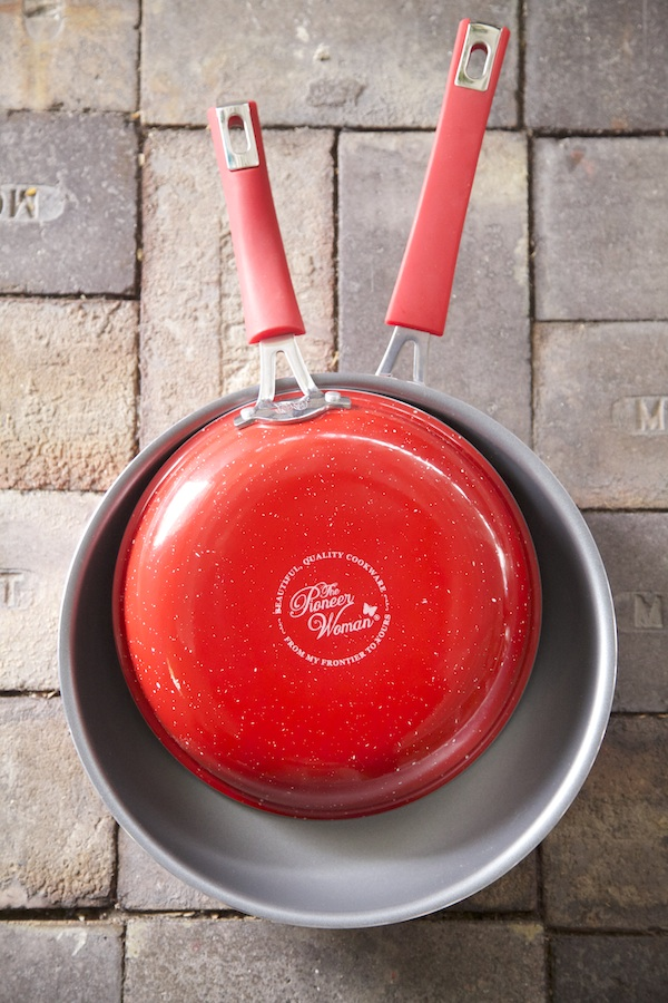 These great frying pans have a vintage feel to the red exterior. A new product from The Pioneer Woman's home collection at Walmart.