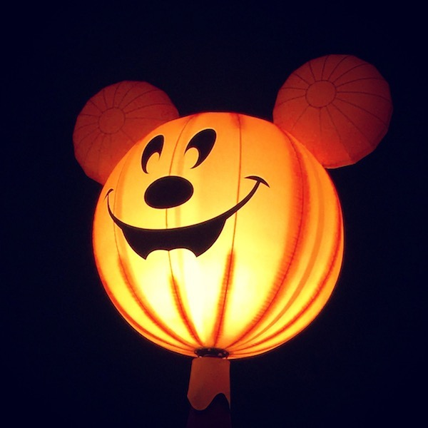 Mickey as a glowing pumpkin