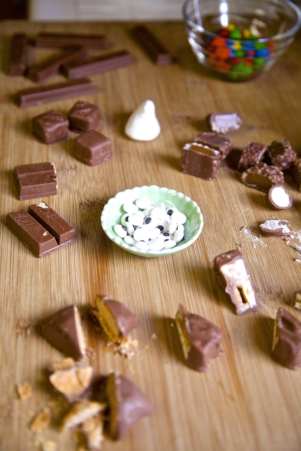 Chopped up halloween candy to make peek a boo bark