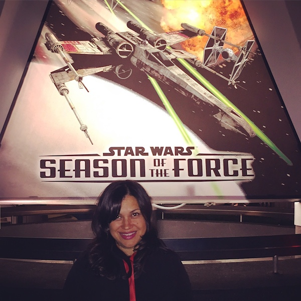 Nicole Presley standing outside of Hyperspace Mountain for Season Of The Force at Disneyland.