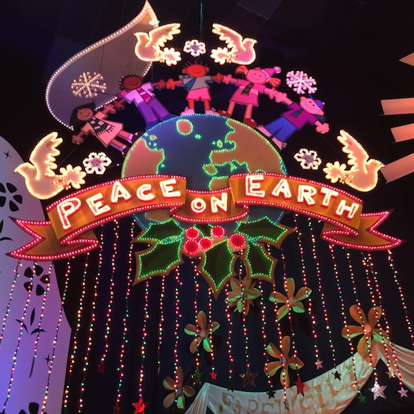 Peace on earth sign in It's a small world Disneyland.