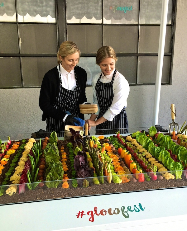 the edible vegetable garden at glowfest