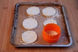 cotija cheese shaped in circles before the oven.