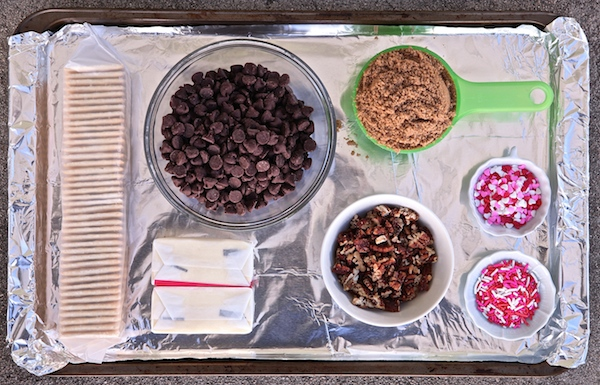 All the ingredients needed for Valentine cracker candy.