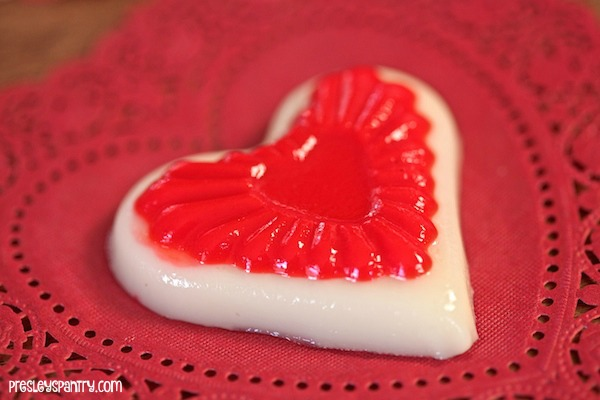 Cherry coconut jello hearts made for valentine's day.
