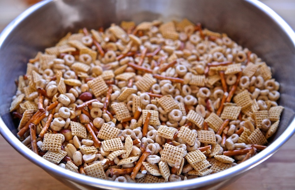dry cereal mix with peanuts and pretzels.