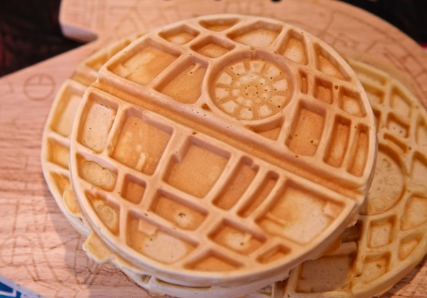 Perfectly crisp death star waffle ready to be topped!