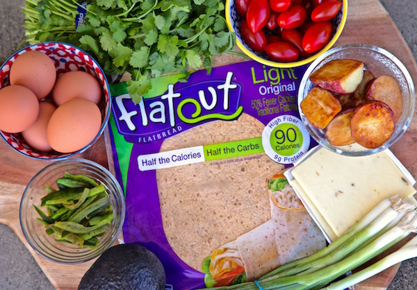 All the ingredients needed for a alta california breakfast wrap.