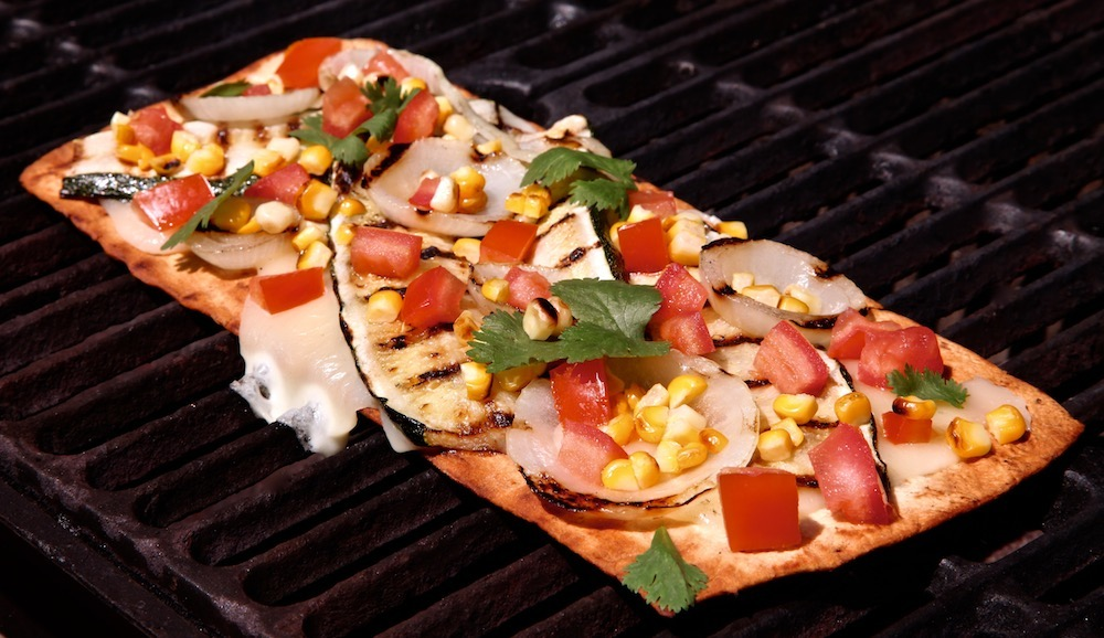 Calabasita Pizza A La Parrilla made with Flatout Flatbread. Yum