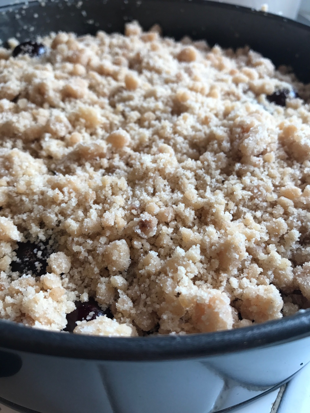 Crumb topping on Almond Cherry Crumb Cake