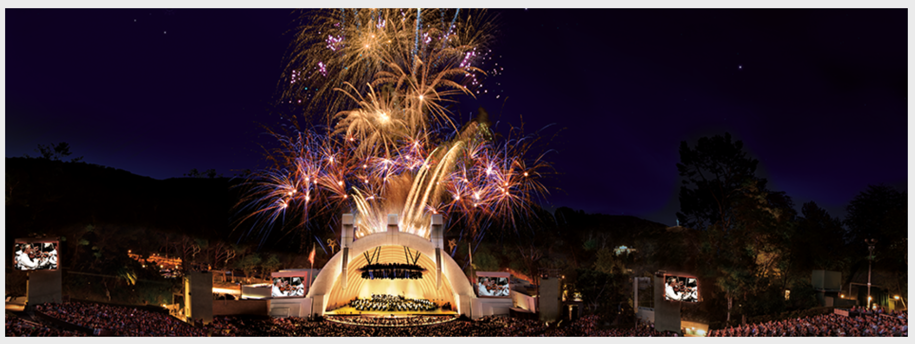 A firework finale at the The Hollywood Bowl.