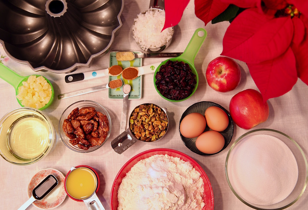 all the ingredients needed for an unbelievably delicious fruitcake
